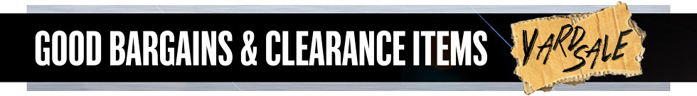 close outs, clearance items and bargains banner