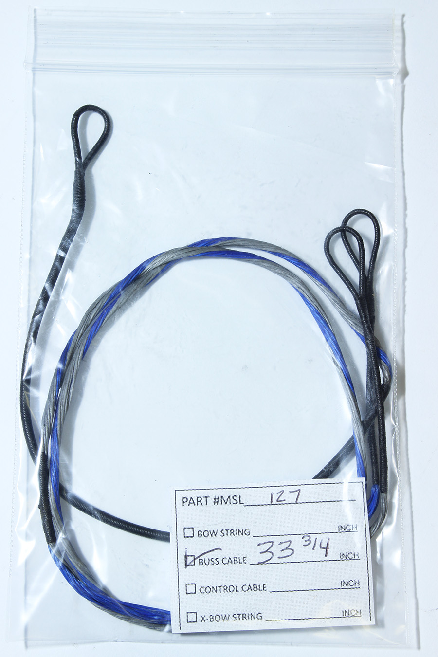 33-3/4 in. Buss Cable, Compound Bow Replacement Part, Blue/Silver