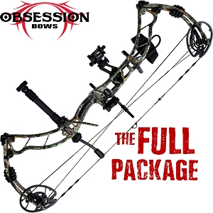 350 FPS! Obsession Turmoil RZ, THE BIG PACKAGE, Full Pro-Shop Prepped Bowhunting Package Deal