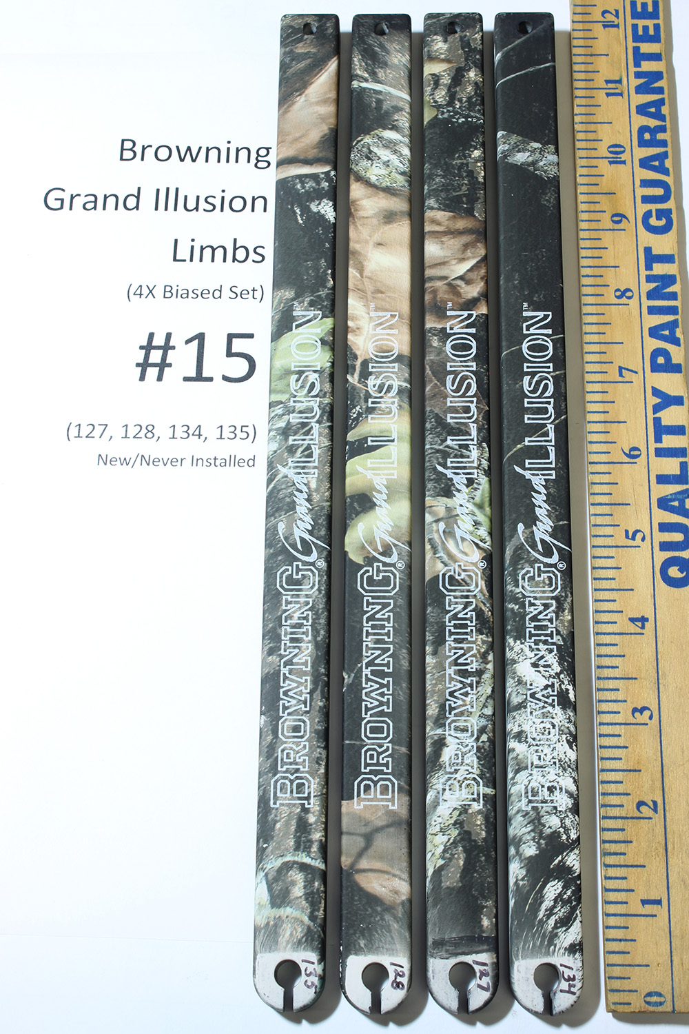 Factory Replacement #15 Limbs for Browning Grand Illusion Compound Bow, Biased Deflection 127/128/134/135 Set (4x) photo 1