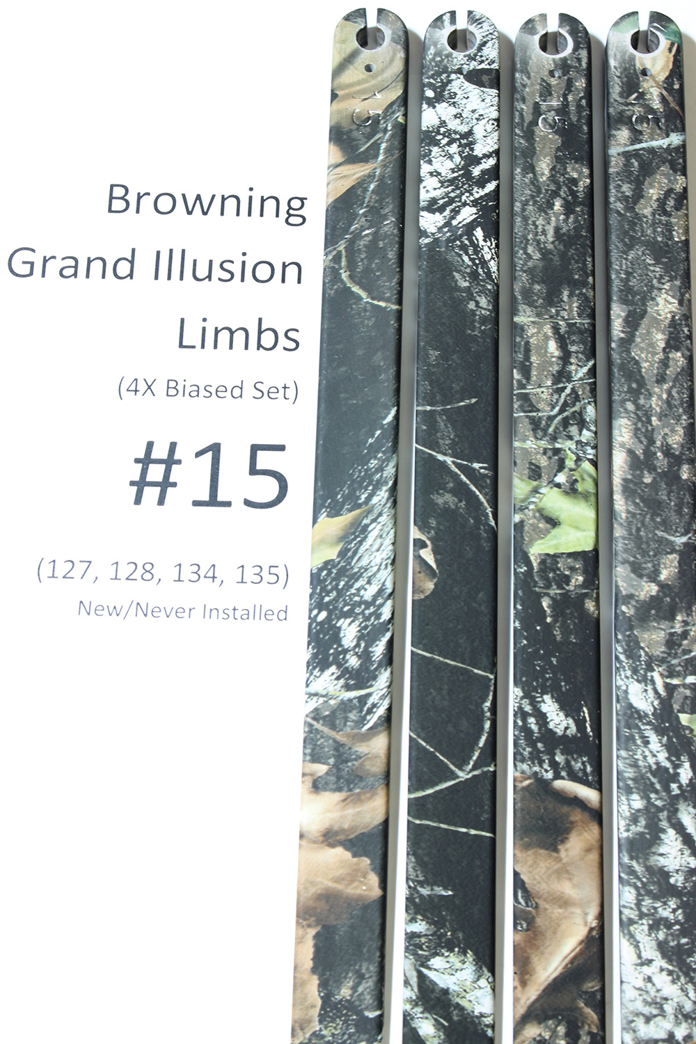 Factory Replacement #15 Limbs for Browning Grand Illusion Compound Bow, Biased Deflection 127/128/134/135 Set (4x) photo 2