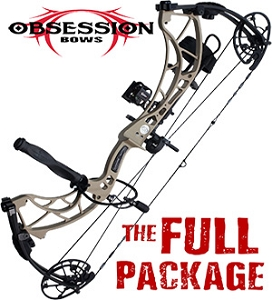 NEW! 2019 Obsession FX30, DESERT TAN FINISH, THE BIG PACKAGE, Full Pro-Shop Prepped Bowhunting Package Deal