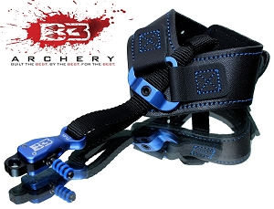B3 Archery, Rival Double-Caliper Release, in Blue EXTREME LENGTH ADJUSTMENT