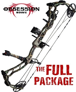 NEW! 2020 Obsession HB33,in Mossy Oak Mountain Country Camo, THE BIG PACKAGE, Full Pro-Shop Prepped Bowhunting Package Deal
