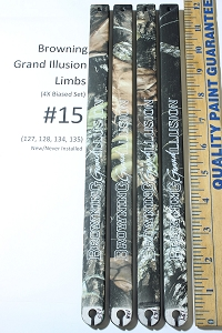 Factory Replacement #15 Limbs for Browning Grand Illusion Compound Bow, Biased Deflection Set (4x)