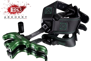 B3 Archery EXIT IV Green and Black Four-Finger Release W/Flex Style Buckle Strap, Lock and Load Design