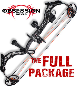 NEW 2021! 348 FPS! 2021 Obsession TM33, in GRAY SCALE, -BAD TO THE BONE-  Full Pro-Shop Prepped Bowhunting Package Deal